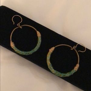 Jewelry - Turquoise leather earrings